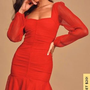 Anne Red Mesh Ruched Long Sleeve Mini Dress